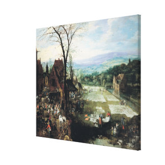 Market and Bleaching Ground, 1620-22 Stretched Canvas Print