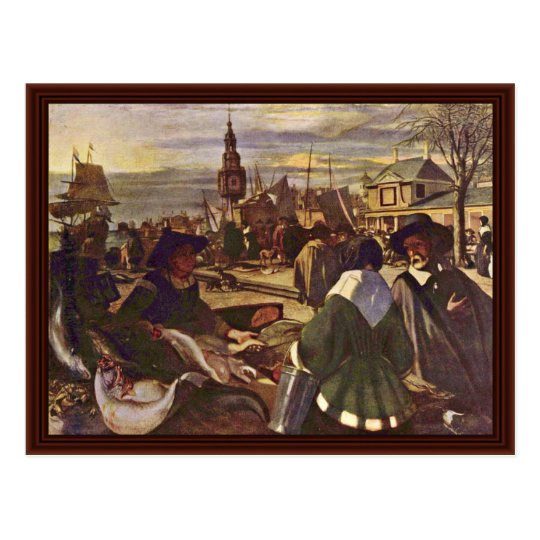 Market At The Harbour By Witte Emanuel De Postcard