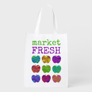 Market Fresh Colorful Apple Reusable Grocery Bag
