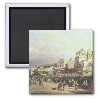 Market in Nishny, Novgorod, 1872 Magnet