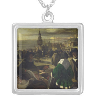Market in the Hague, c.1660 Square Pendant Necklace