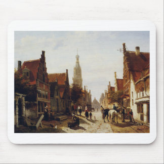Market Oudewater by Cornelis Springer Mouse Pad