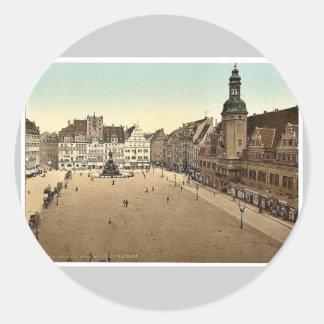Market place and Hotel de Ville, Leipsig (i.e., Le Round Sticker