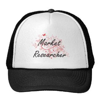Market Researcher Artistic Job Design with Butterf Cap