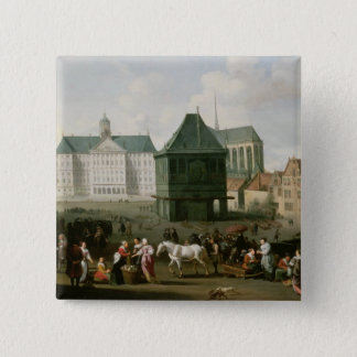 Market Scene before the Dam Palace, Amsterdam 15 Cm Square Badge
