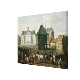 Market Scene before the Dam Palace, Amsterdam Canvas Print