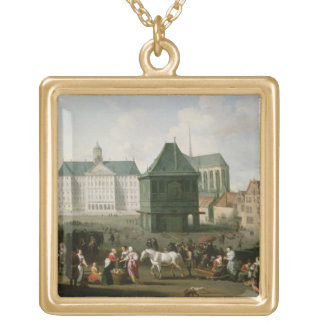 Market Scene before the Dam Palace, Amsterdam Gold Plated Necklace