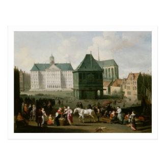 Market Scene before the Dam Palace, Amsterdam Postcard