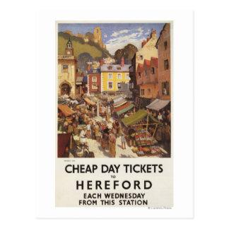 Market Scene Railway Poster Postcard
