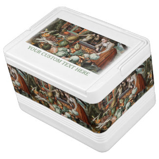 """Market Scene"" vintage art cooler Igloo Cooler"
