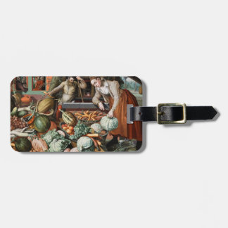 """Market Scene"" vintage art custom luggage tag"