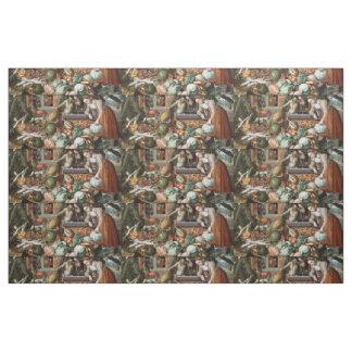 """Market Scene"" vintage art fabric"