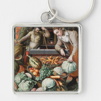 """Market Scene"" vintage art key chains"