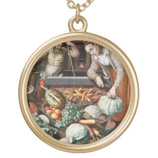 """""""Market Scene"""" vintage art necklace"""