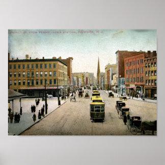 Market St., Newark NJ 1909 Vintage Poster