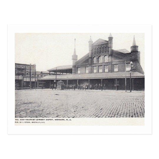 Market St. Train Depot, Newark NJ Vintage Postcard