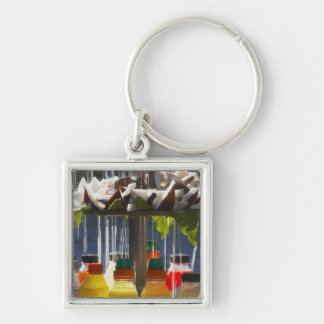 Market stall in Florence, Italy Silver-Colored Square Key Ring