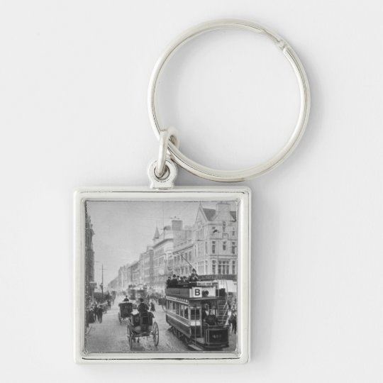 Market Street, Manchester, c.1910 Silver-Colored Square Key Ring
