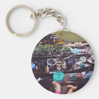 Market Themed, Business In Floating Market. The Se Basic Round Button Key Ring