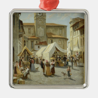 Marketday in Desanzano (oil on canvas) Christmas Ornament