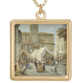 Marketday in Desanzano (oil on canvas) Personalized Necklace