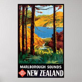Marlborough Sounds New Zealand Poster