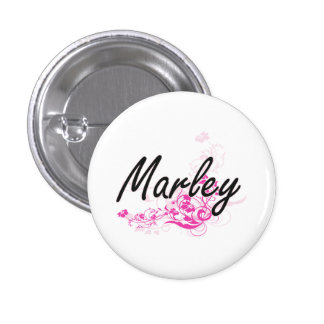 Marley Artistic Name Design with Flowers 3 Cm Round Badge