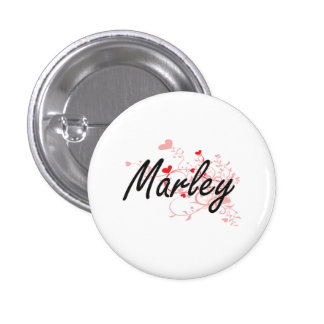 Marley Artistic Name Design with Hearts 3 Cm Round Badge