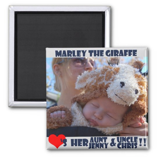 Marley Loves Her Aunt and Uncle. Square Magnet