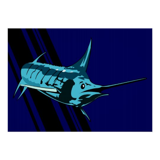 Marlin in the shadows Illustration print