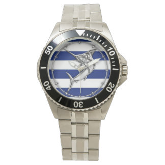 Marlin Swordfish on Nautical Blue Stripes Watch