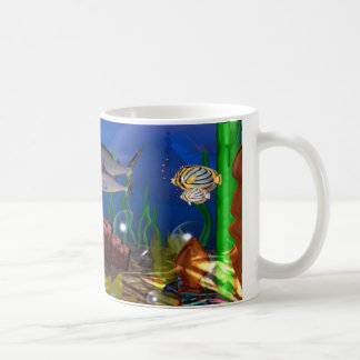 Marlins listen to undersea music from phonograph coffee mug