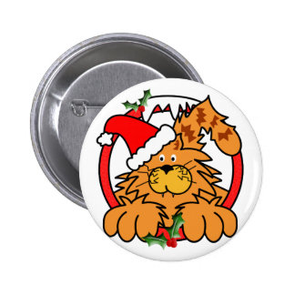 Marmalade Cat at Christmas 6 Cm Round Badge