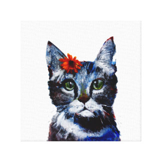 Marmalade, the cute cat who wears a flower. canvas print