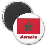 Marokko Flagge mit Namen Fridge Magnet