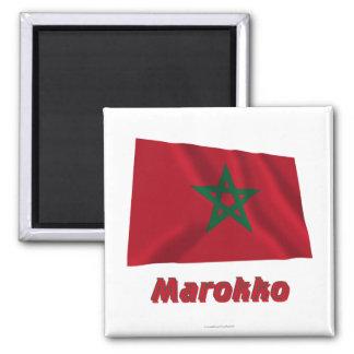 Marokko Fliegende Flagge mit Namen Square Magnet