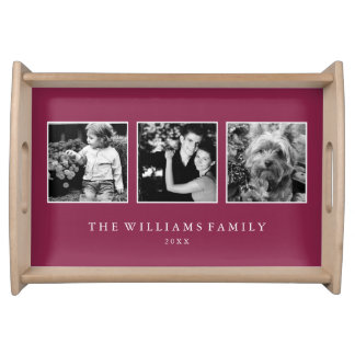 Maroon 3-Photo Family Collage Personalized Food Tray