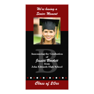 Maroon and Black Graduation Announcement Customised Photo Card