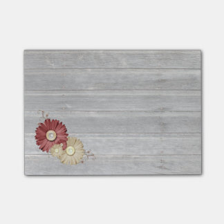 Maroon and Cream Flowers Faded Wood Post-it® Notes