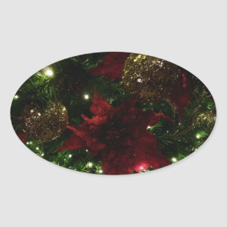 Maroon and Gold Christmas Tree Holiday Photo Oval Sticker