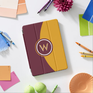 Maroon and Gold Monogram iPad Pro Cover
