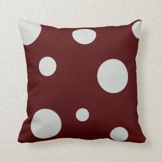 Maroon and Light Gray Polka Dot Pillow