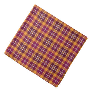 Maroon and Orange Sporty Plaid Bandana