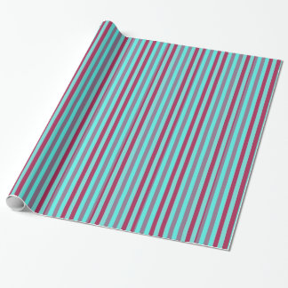 Maroon And Teal Horizontal Stripes Wrapping Paper