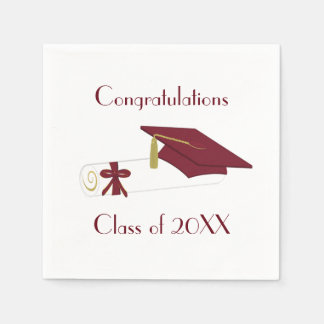 Maroon and White Graduation Party Paper Napkins