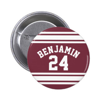 Maroon and White Jersey Stripes Custom Name Number 6 Cm Round Badge