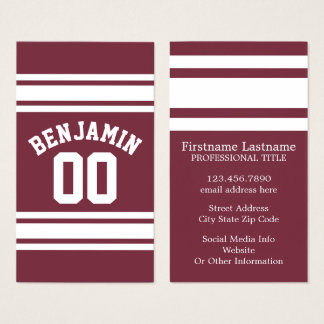 College coach business cards business card printing zazzle uk maroon and white jersey stripes custom name number business card reheart Image collections