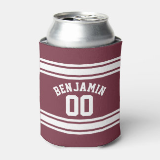 Maroon and White Jersey Stripes Custom Name Number Can Cooler