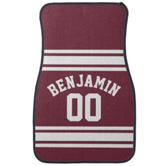 Maroon and White Jersey Stripes Custom Name Number Car Mat