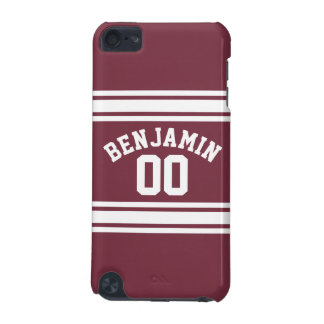 Maroon and White Jersey Stripes Custom Name Number iPod Touch (5th Generation) Covers